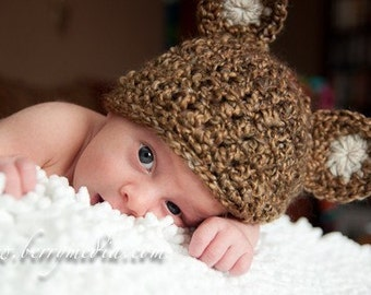Set Teddy Bear Cocoon Newborn Baby Photo Prop in BROWN - photography set 2 pcs