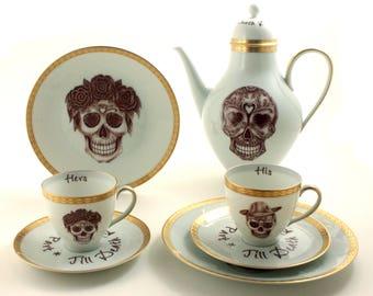 Sugar Skull Mr Mrs Wedding Set for 2, Halloween Wedding, Vintage Porcelain Cups, Coffee Tea Set, Till Death Do Us Part,  Dia de los Muertos