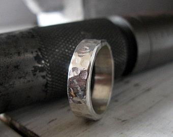 Mens Wedding Band 6mm Mens Wedding Ring Viking Wedding Ring Unique Mens Wedding Band Hammered Sterling Silver Wedding Band Mens Wedding Band