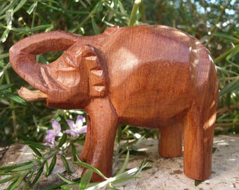 African elephant right in the air wooden African Elephant Hand Carved Wooden elephant statue Wooden elephant Carved African figure
