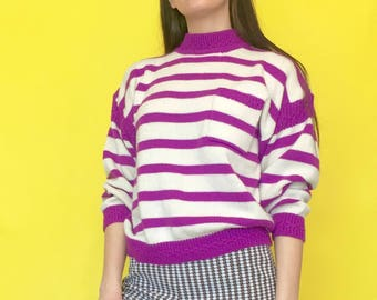 Vintage 80s 90s Purple and White Striped Knit Mock Turtle Neck Pull Over Sweater