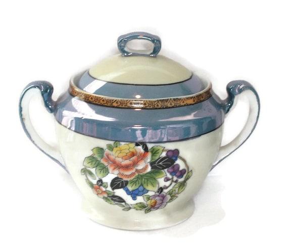 Noritake Art Deco Sugar Bowl Lusterware Red Wreath Mark Japan Lidded Bowl