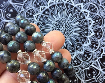 Unicorn Vibes   Angel Aura Black Labradorite (Larvakite) + Quartz Crystal   Spiritual Junkies   Yoga + Meditation   Mala Bracelet