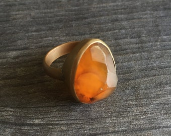 Brass ring with resin
