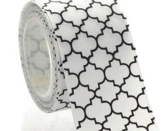 "1.5"" Black Quatrefoil Grosgrain Ribbon - 5yds"