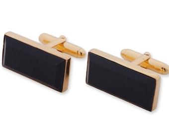 Black Onyx Cufflinks Genuine Gemstone Rectangular Gold Plated Sterling Silver 925