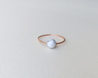 Copper marble minimalist ring / womens white black gray marbled howlite stone sleek simple minimal thin delicate modern womans women