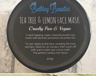 Tea Tree & Lemon Face Mask, Blemished Skin, Teenager Skin, Anti-bacterial, Vegan Face Mask, Birthday Gift, Sensitive Skin, Teenager Gift