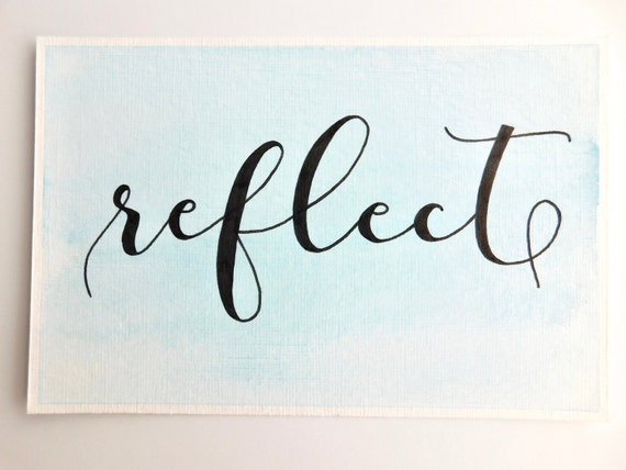 Reflect watercolor and calligraphy art word of the year art