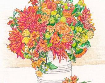ZINNIAS IN A CAN- Art Print/Floral/Flowers/Still Life/Limited Edition