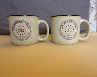 Pair of Crawford Texas Coffee Mugs - Home of President George W. and Laura Bush - 12 oz. Almond Campfire Stoneware Mug
