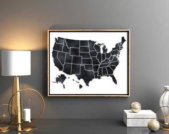 Rustic Home Decor Map of United States USA Map Rustic