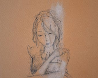Kitty In The Morning - Original Illustration - 11 x 11 - Pencil Drawing by Amanda Nutzman