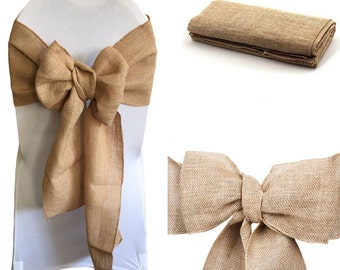 Hessian Sashes Chair Cover Bows Jute Burlap Vintage Rustic Wedding Party Decor
