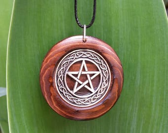 Pentacle Pendant in Burnt Cedar + Free Shipping, Pentacle Jewelry, Pagan, Wiccan Spiritual jewelry, Pentacle Necklace, Rustic Jewelry