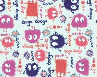 GUMDROP Ooga Booga on Lt Baby Blue, Cotton Interlock Knit Fabric, Piece 51 inches long