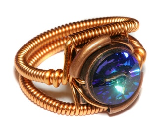 Steampunk Jewelry - Ring - Copper with Bermuda blue Swarovski Crystal