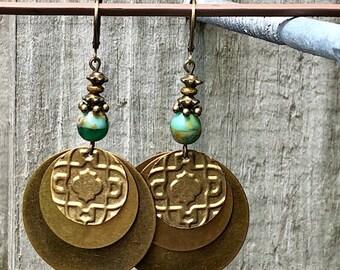 Green Earrings, Bronze Earrings, Embossed Earrings, Rustic Earrings, Boho Earrings, Ethnic Earrings, Tribal Earrings, Earthy Earrings