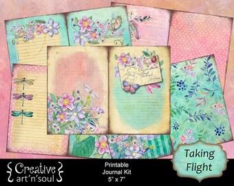 Taking Flight Printable Journal Kit, 5x7 Printable Journal, Memory Keeping Journal, Digital Journal Kit, Junk Journal