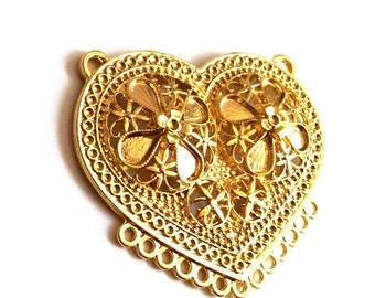 1pc -Matte Gold plated Ornamate Heart with loops Pendant - 62x55mm-(008-045GP)