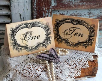 Vintage Fancy Frame Table Number Cards Handmade by avintageobsession on etsy