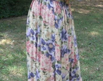 RETRO Floral MIDI DRESS, Twirly Flared Skirt, Vintage Rayon Gauze, Tan Pink Purple Green, gathered waist short sleeves, Boho Hippie Feminine