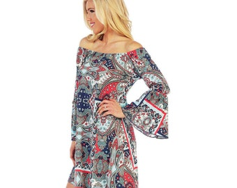 Style By Chris Ohio Honeyme Sage/Coral Print Tunic Dress with Bell Sleeves