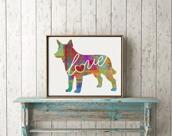 Australian Cattle Dog Love - A Watercolor Style Gift for Dog Lovers - Home  & Wall Decor Print That Can be Personalized With Pet's Name