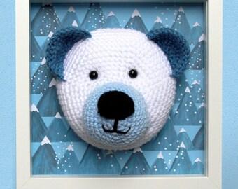White and Blue Crochet Bear Picture Frame, Kid's Room Decor Blue, Bespoke Personalised  Art Wall, Scandinavian Style, Newborn gift