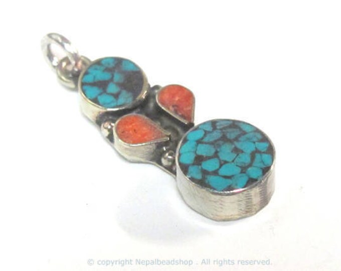 1 pendant - Small linear drop shape Tibetan silver charm pendant with mosaic turquoise coral  inlay - PM574B