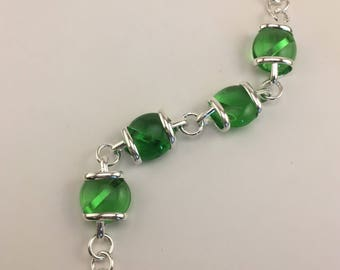 Stained Glass Bracelet with Translucent Geen Jewels