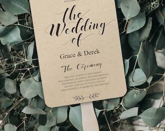 Wedding Fan Program, Wedding Program Fan, Printable Wedding Fan Program Template, Wedding Fans, Editable Text, Program Fan, PDF, BD-6039