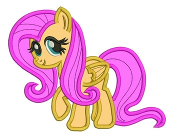 My Little Pony Fluttershy Applique, Machine Embroidery Design - 5 Sizes