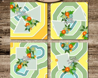 Digital Scrapbooking, Layout Template,Commercial Use: Come Together