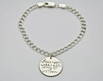 Custom personalized charm bracelet - Handwriting silver charm bracelet - Actual writing on sterling silver - Personalized charm bracelet