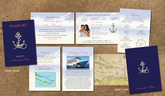 Cruise Wedding Invitation Wording Examples: Cruise Wedding Invitation Passport Itinerary Booklet Gold