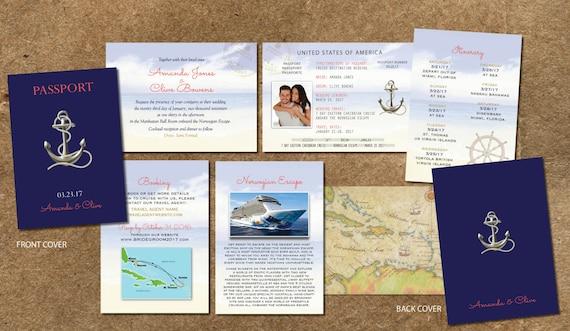 Cruise Wedding Invitations: Cruise Wedding Invitation Passport Itinerary Booklet Gold