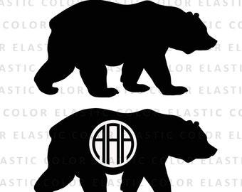 Bear svg file, bear monogram file - bear clipart  digital download svg, eps, dxf, png