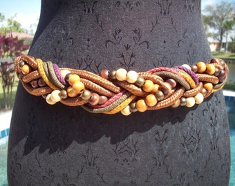 Vintage Rope and Wood Beaded Belt, S