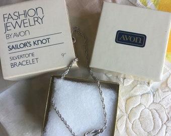 NIB Vintage Avon Sailor's Knot Silvertone Bracelet, 1982