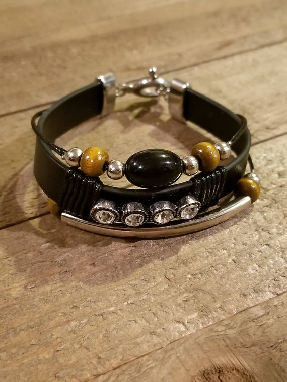 Rustic Leather Gemstones Wrap Unique Bracelet Native American Style Fashion Hippie Boho Earth (B44)