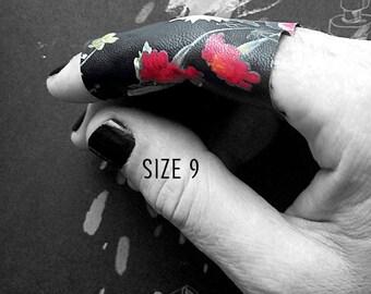 Midnight bloom flower print vegan leather ring variations of lengths ring size 9 - Rannka