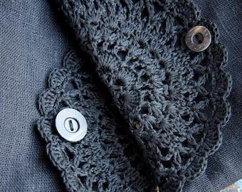 Linen clutch, pouch, purse, makeup bag -- crocheted detail closure