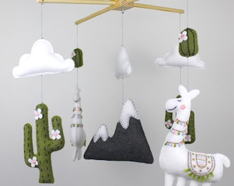 Llama Nursery Mobile Sewing Pattern, Llama Nursery Decor Hand Sewing Pattern, Felt Baby Mobile, Llama and Cactus Infant Mobile for Crib