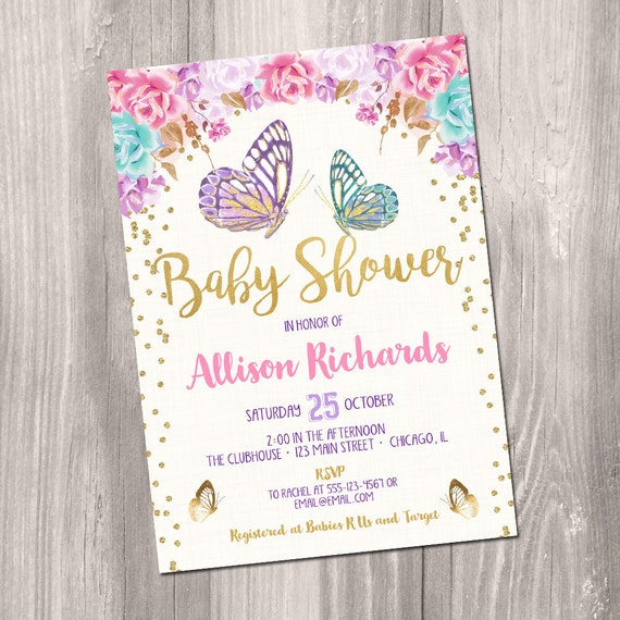 Butterfly Baby Shower Invites