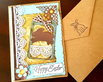 Shabby Easter Card, Easter Handmade Card, Easter Card with Bunny, 3D Easter Card
