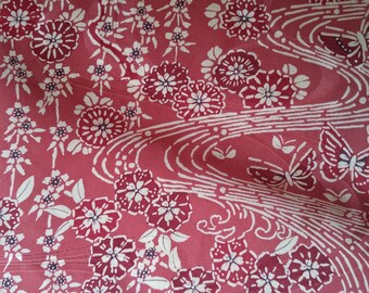 Vintage Japanese silk rinzu kimono fabric 92 cm x 36 cm butterflies and flowers dusky pink