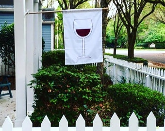 "Wine Glass 28""x39"" Banner - Decorative House Flag - Red Wine/ Merlot/ Syrah/ Cabernet Flag-  Appliqued in the USA"