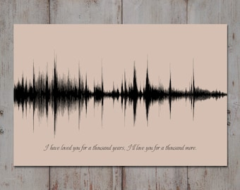 Wedding Song Lyric Art, 1 Year Anniversary Gift, Song Sound Wave Art, Custom Song, Wedding Song Gift, 1st Anniversary, Artsy Voiceprint