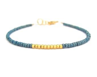 Friendship Bracelet Ocean Blue Friendship Bracelet 24K Gold Plated Beads Minimal Bracelet Miss Ceces Jewels Hawaii Jewelry